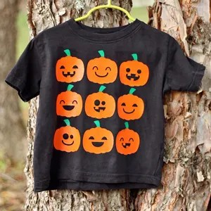 This is just the perfect shirt to wear to the pumpkin patch!! Cute Halloween Jack-O-Lantern Faces Shirt | Where The Smiles Have Been