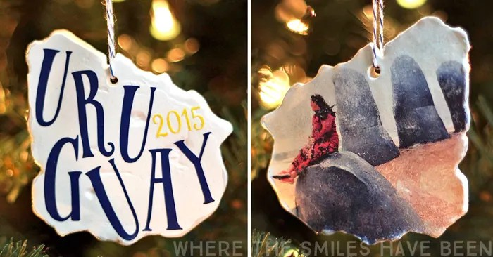 Clay Vacation Map Photo Ornament | Where The Smiles Have Been