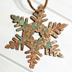DIY Faux Aged Copper Snowflake Ornaments from a Cereal Box!