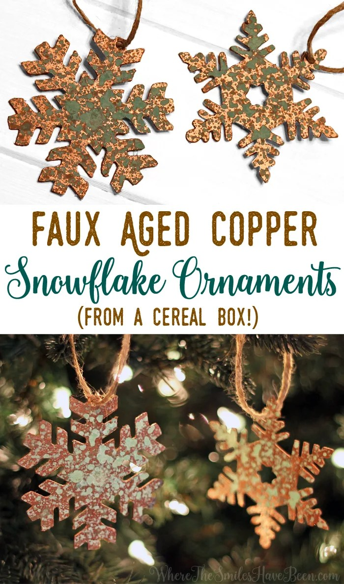 DIY Faux Aged Copper Snowflake Ornaments from a Cereal Box! | Where The Smiles Have Been