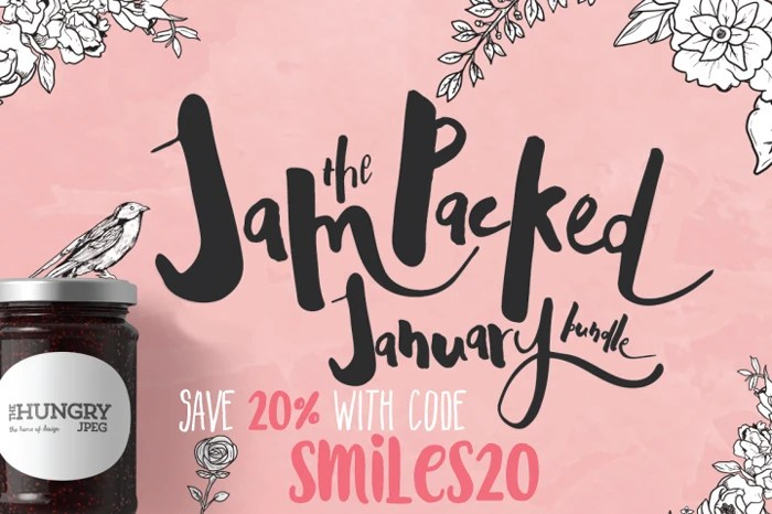 The Hungry JPEG's Jam Packed January Bundle! Save 20% with code Smiles20!