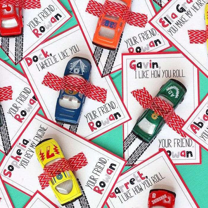 Race Car Valentine's Day Cards with FREE Printable!