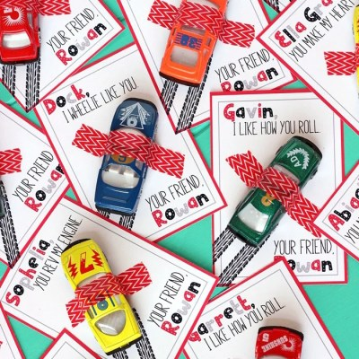 Race Car Valentine's Day Cards with Free Printable