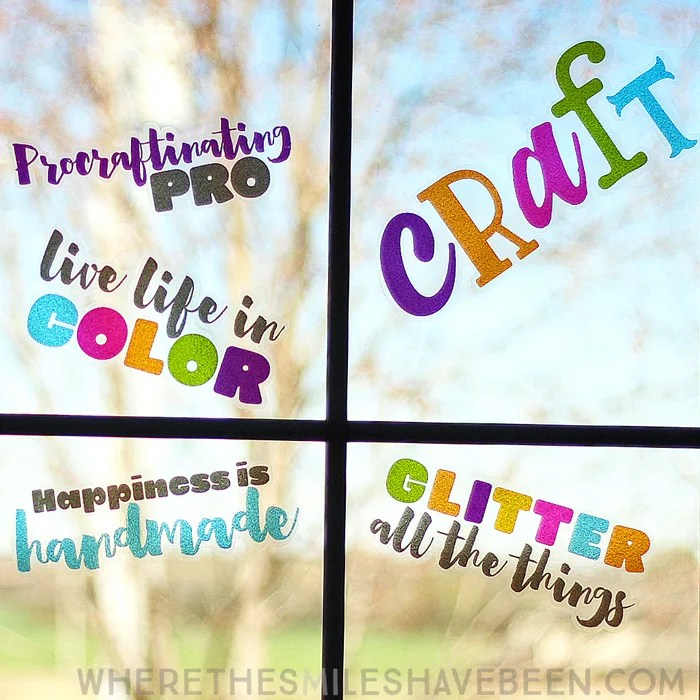 Inspiring Crafty Window Clings with Transparent Glitter Vinyl + GIVEAWAY! | Where The Smiles Have Been