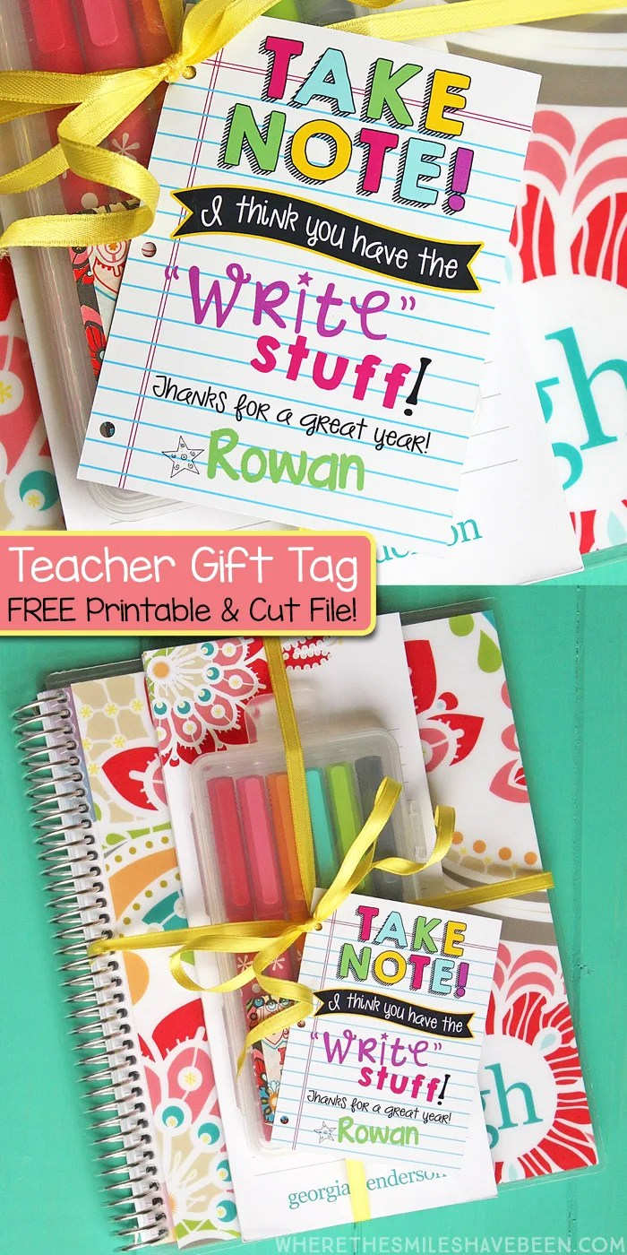 Stationery Teacher Gift Idea + FREE Printable Tag & Silhouette Cut File! | Where The Smiles Have Been