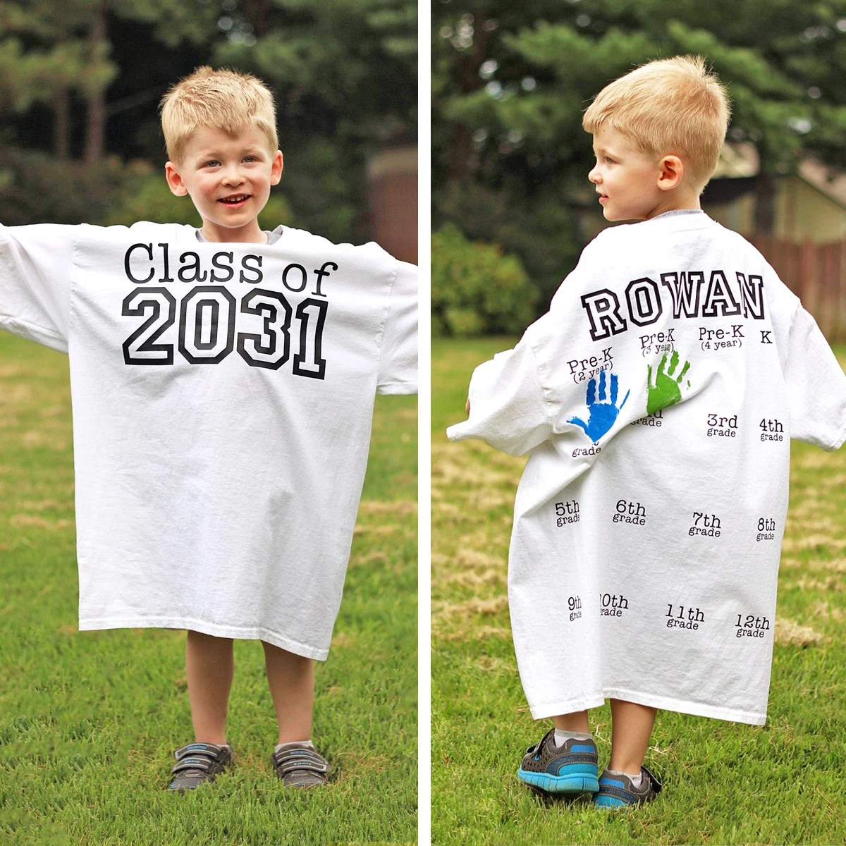 Rowan's Back-to-School Shirt with Yearly Handprints: Year 2!
