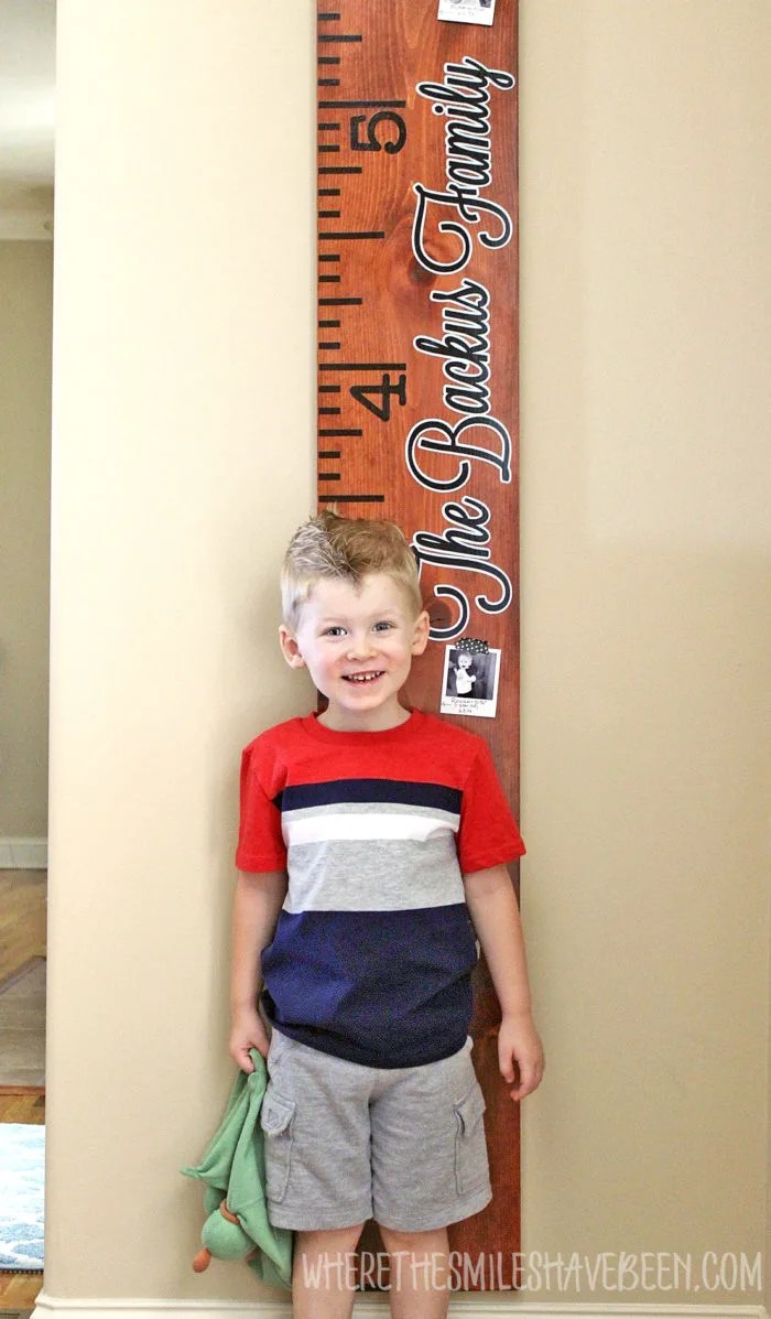 Family Growth Chart Ruler Updated with Yearly Photos! | Where The Smiles Have Been