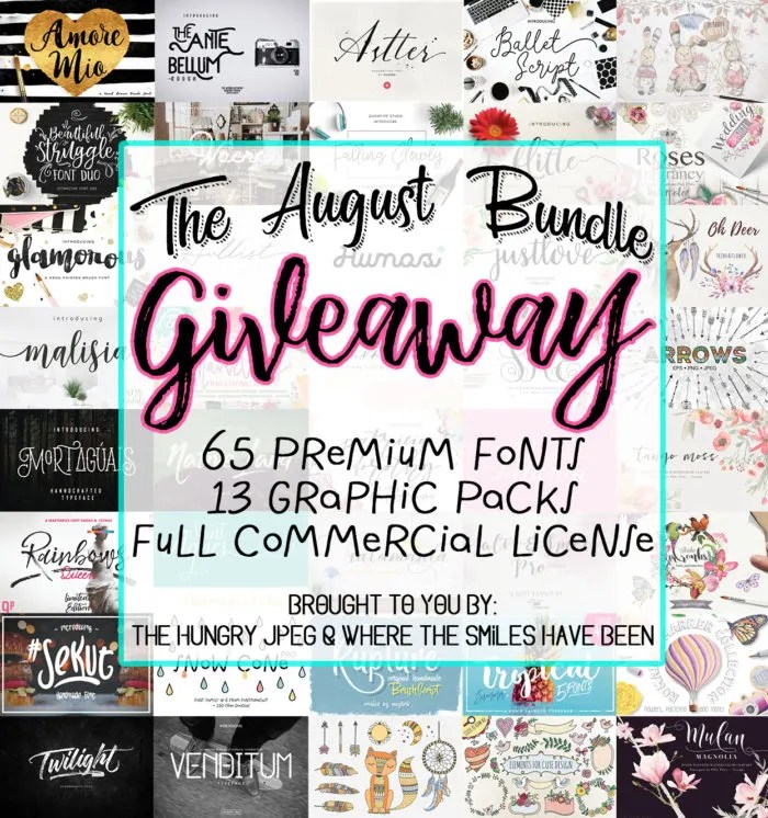 Enter to win The August Bundle from The Hungry JPEG & Where The Smiles Have Been!