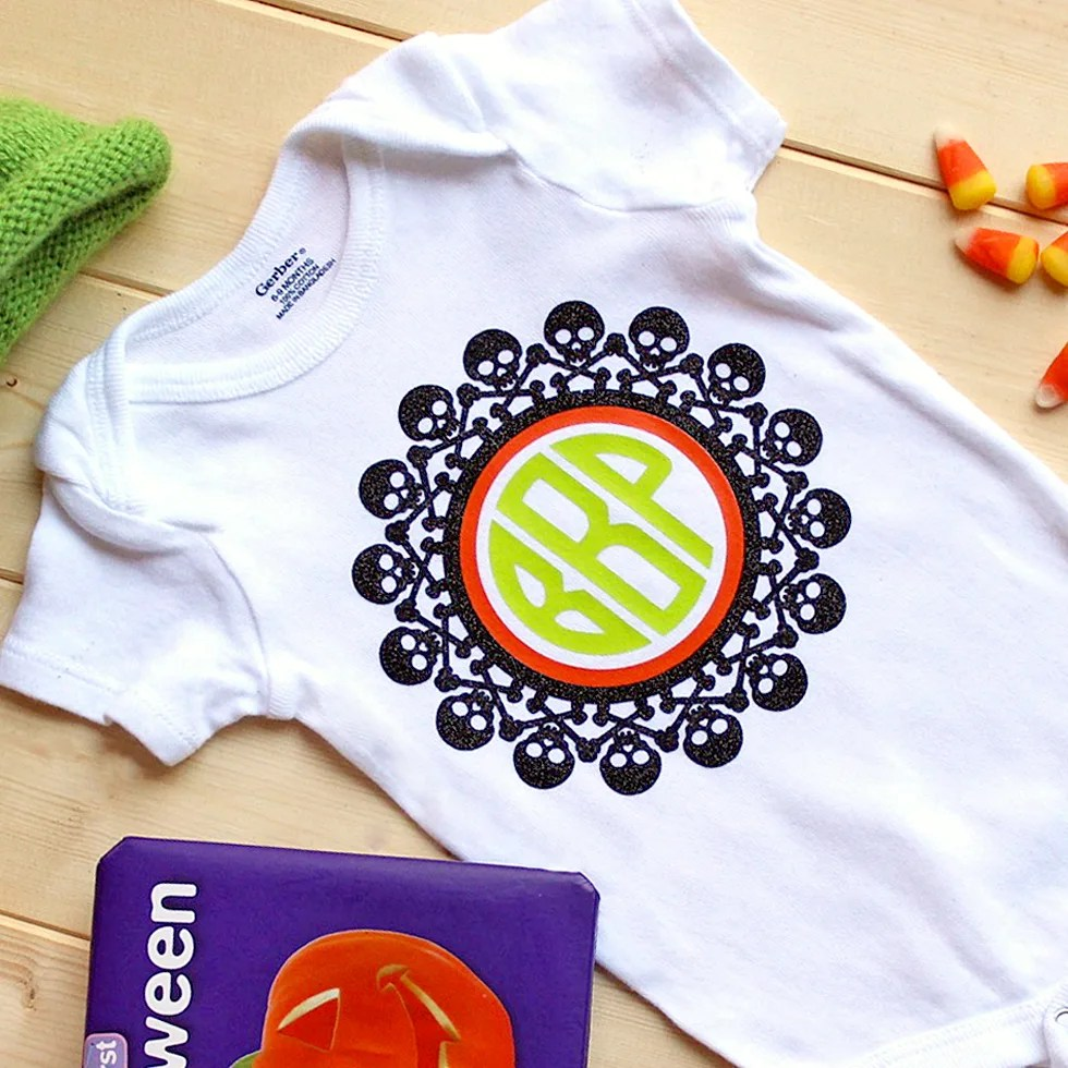 6c2450f8c25 Spooktacular Monogram Onesie for Baby s First Halloween