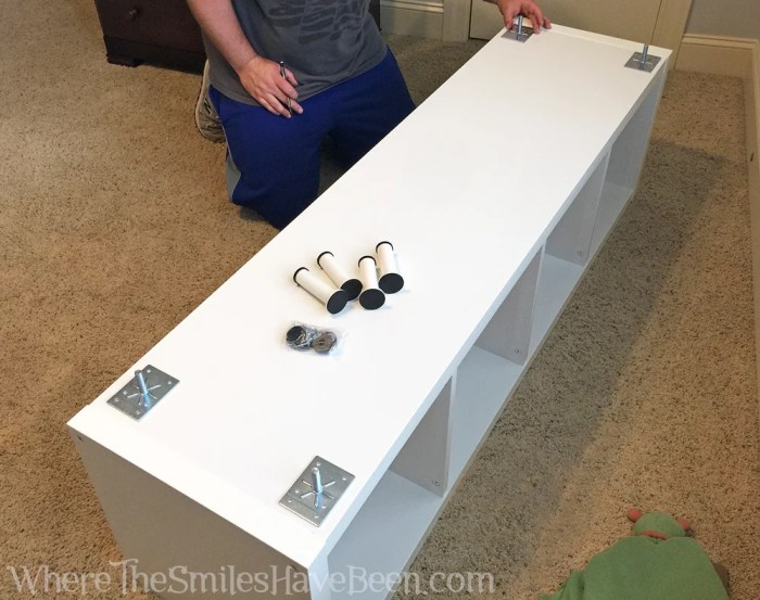 The Super Easy Way to Add Legs to an IKEA Kallax Shelf | Where The Smiles Have Been