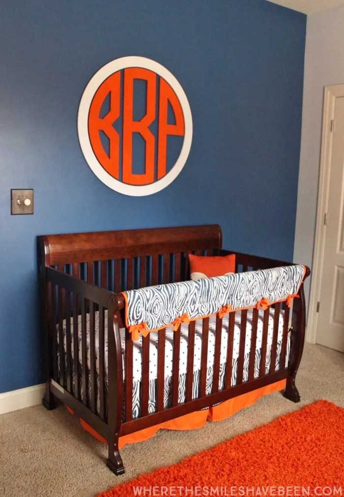 Baby Boy Nursery Tour: Take A Tour Of Our Navy & Orange Modern Woodland Nursery