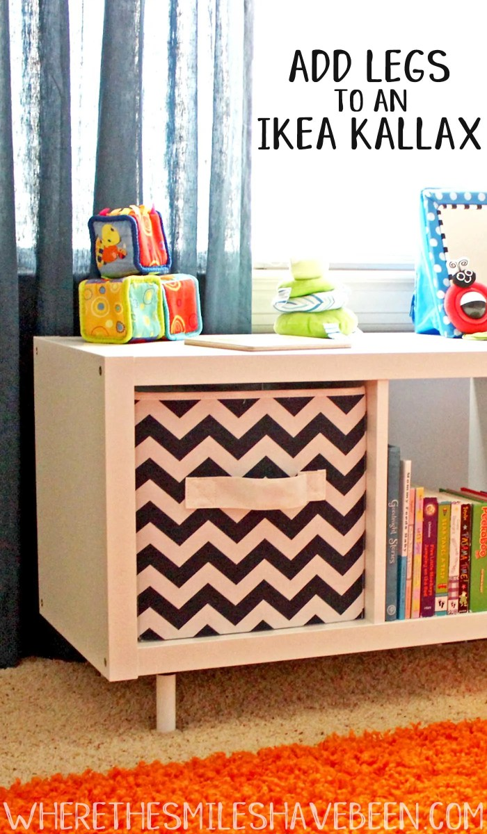 the super easy way to add legs to an ikea kallax shelf. Black Bedroom Furniture Sets. Home Design Ideas