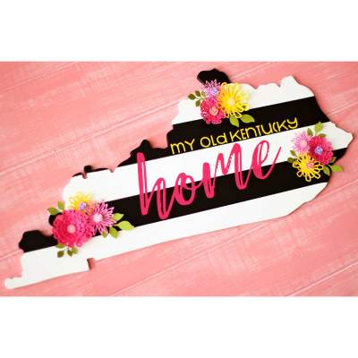 DIY Black & White Striped State Sign with Colorful Paper Flowers