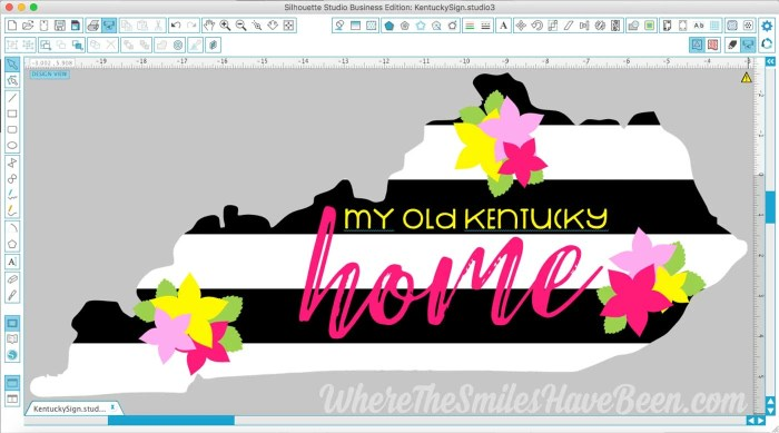 Modern Black & White Striped State Sign with Colorful Paper Flowers!   Where The Smiles Have Been