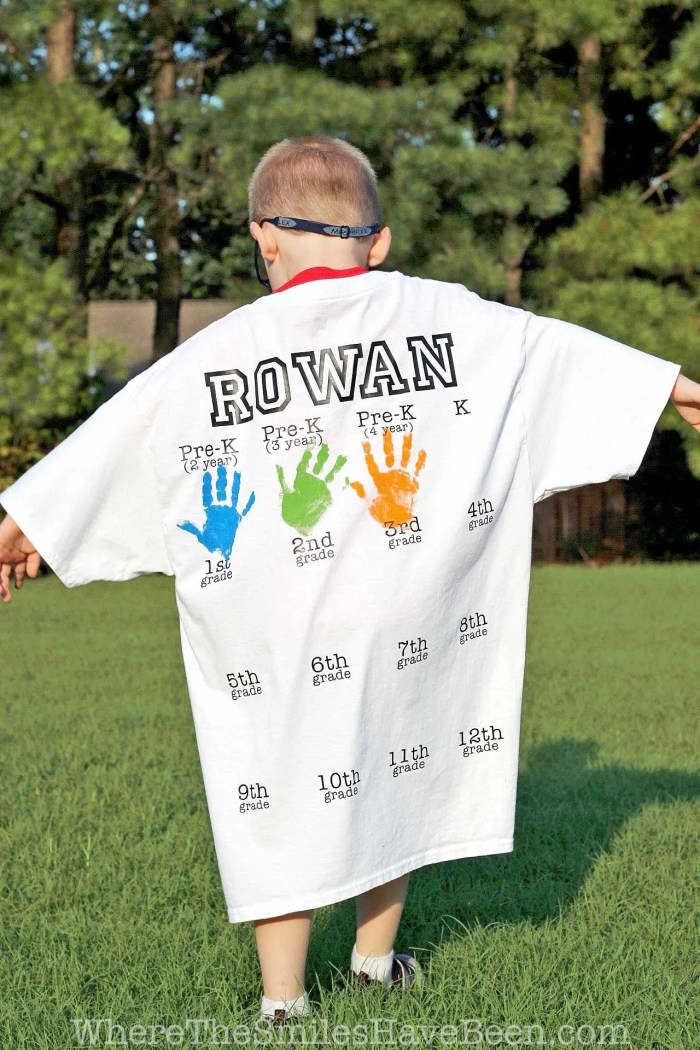 Rowan's Back-to-School Shirt with Handprints: Year 3 Update!   Where The Smiles Have Been