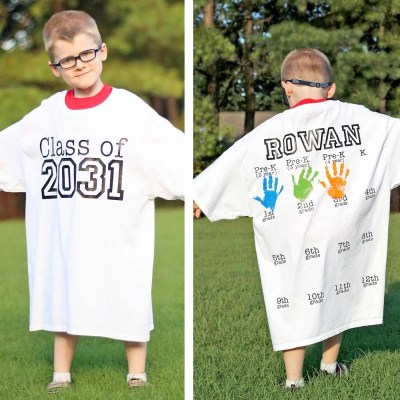 Rowan's Back-to-School Shirt with Handprints: Year 3 Update!