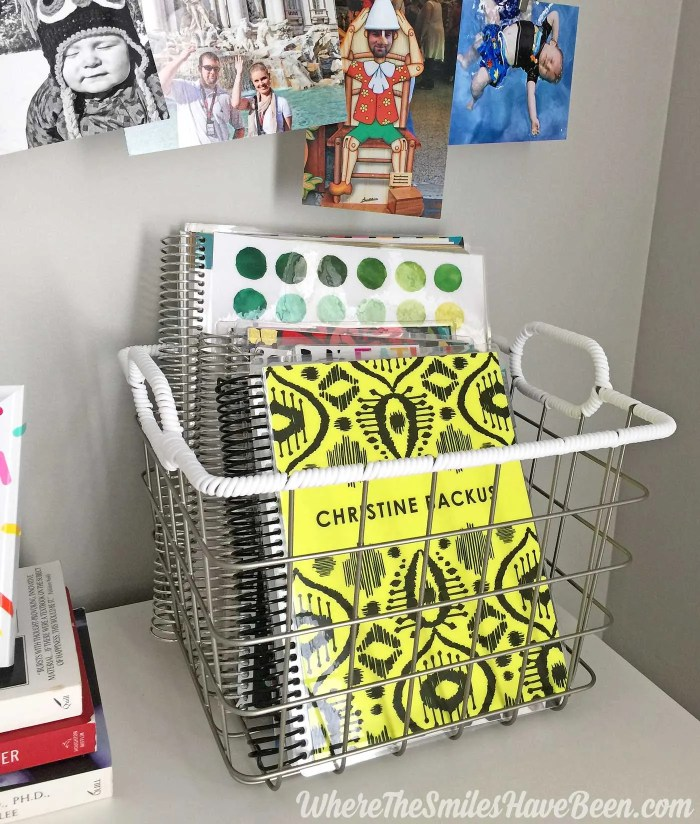 This is a great idea for storing Erin Condren Life Planners and notebooks! Colorful Craft Room Gallery Wall + $100 Erin Condren Giveaway! | Where The Smiles Have Been