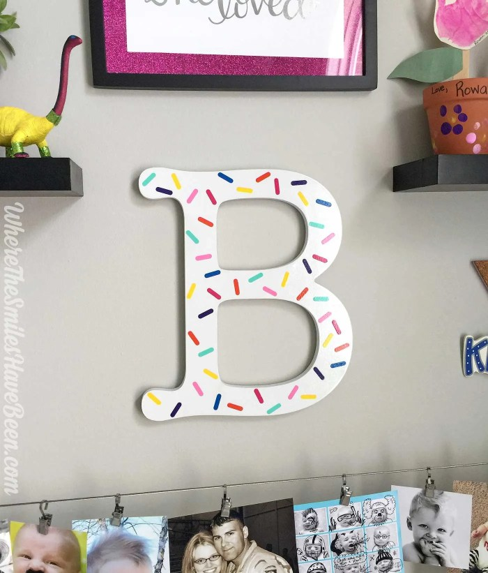 """Love this initial with """"sprinkles""""! So fun! Colorful Craft Room Gallery Wall + $100 Erin Condren Giveaway! 
