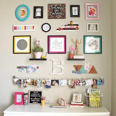 Colorful Craft Room Gallery Wall!