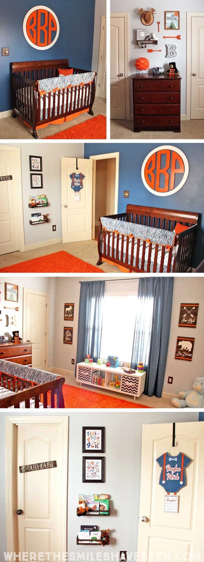 Take a tour of this Navy & Orange Modern Woodland Nursery! | Where The Smiles Have Been