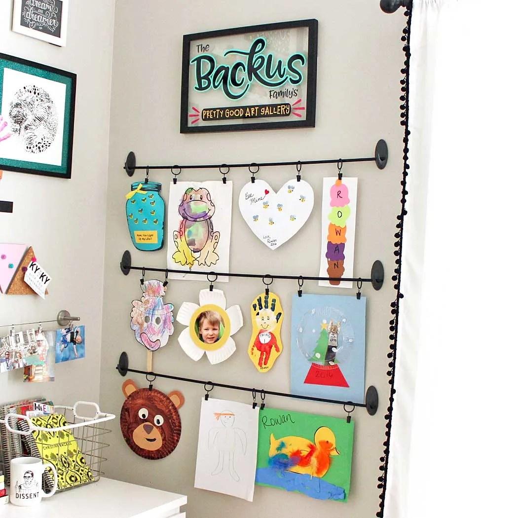Easy DIY Kids Art Display: Simple, Inexpensive, & No Damage! | Where The Smiles Have Been #kids #art #artdisplay