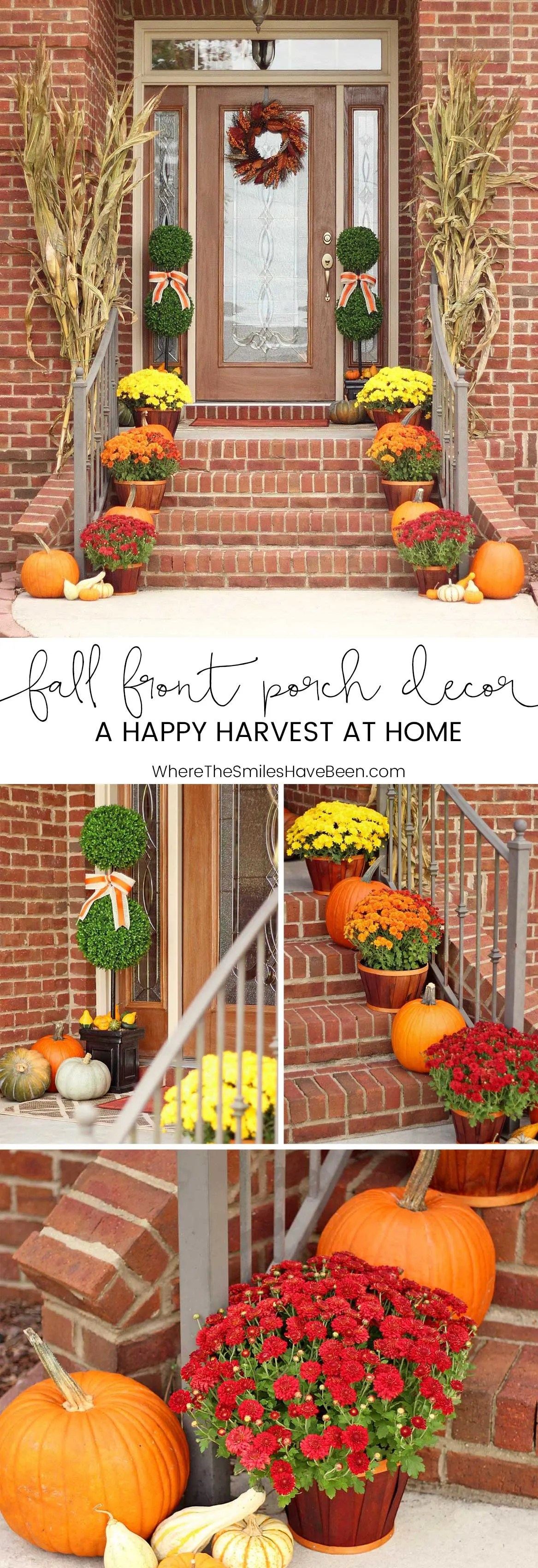 Fall front porch decor our happy harvest at home for Harvest decorations for the home