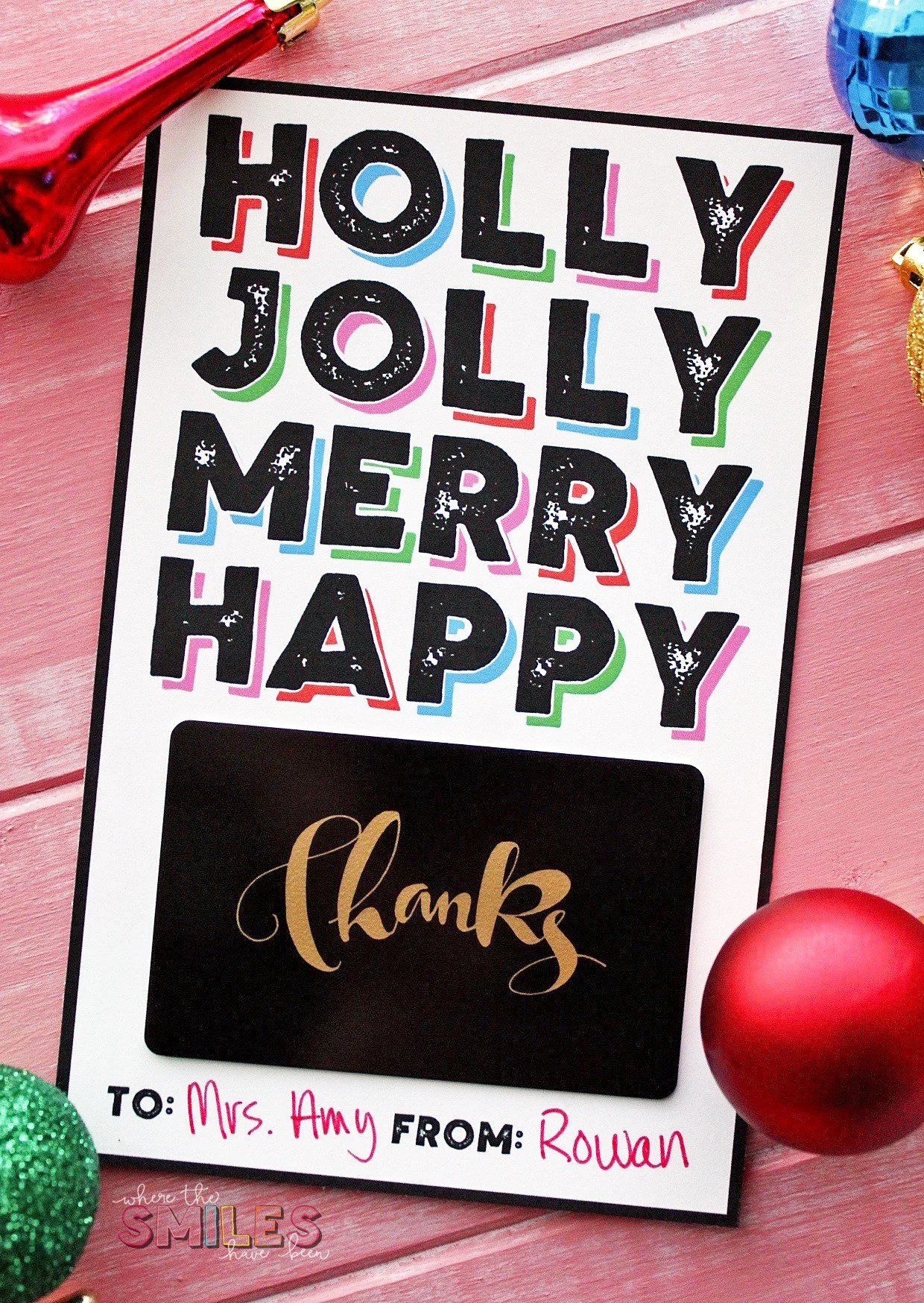 free modern christmas gift card holder printable