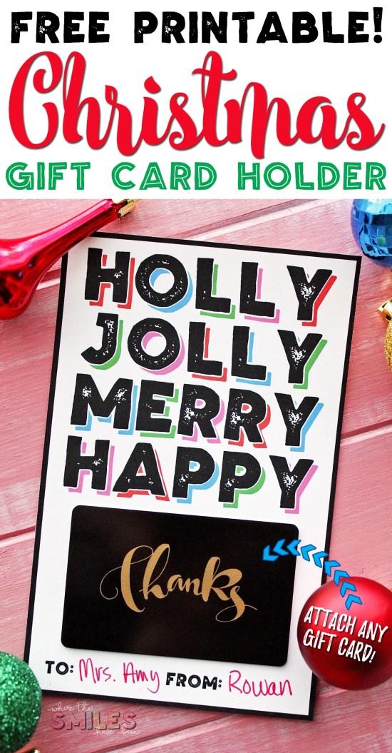 FREE Modern Christmas Gift Card Holder Printable!   Where The Smiles Have Been #Christmas #giftcard #printable