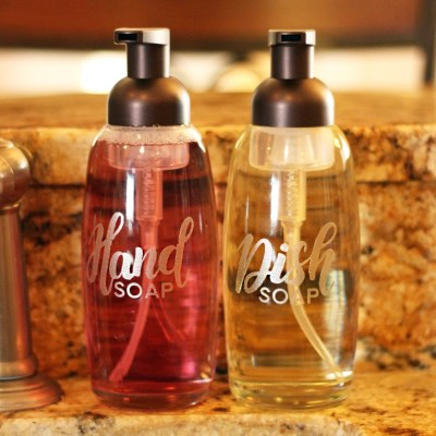 Pretty Foaming Soap Dispensers with Etched Glass Vinyl + FREE Silhouette & SVG Cut Files! | WhereTheSmilesHaveBeen.com #Silhouette #Cricut #soapdispenser #freecutfile