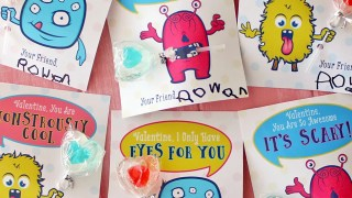Monster Valentine's Day Cards + FREE Printable & Cut Files!