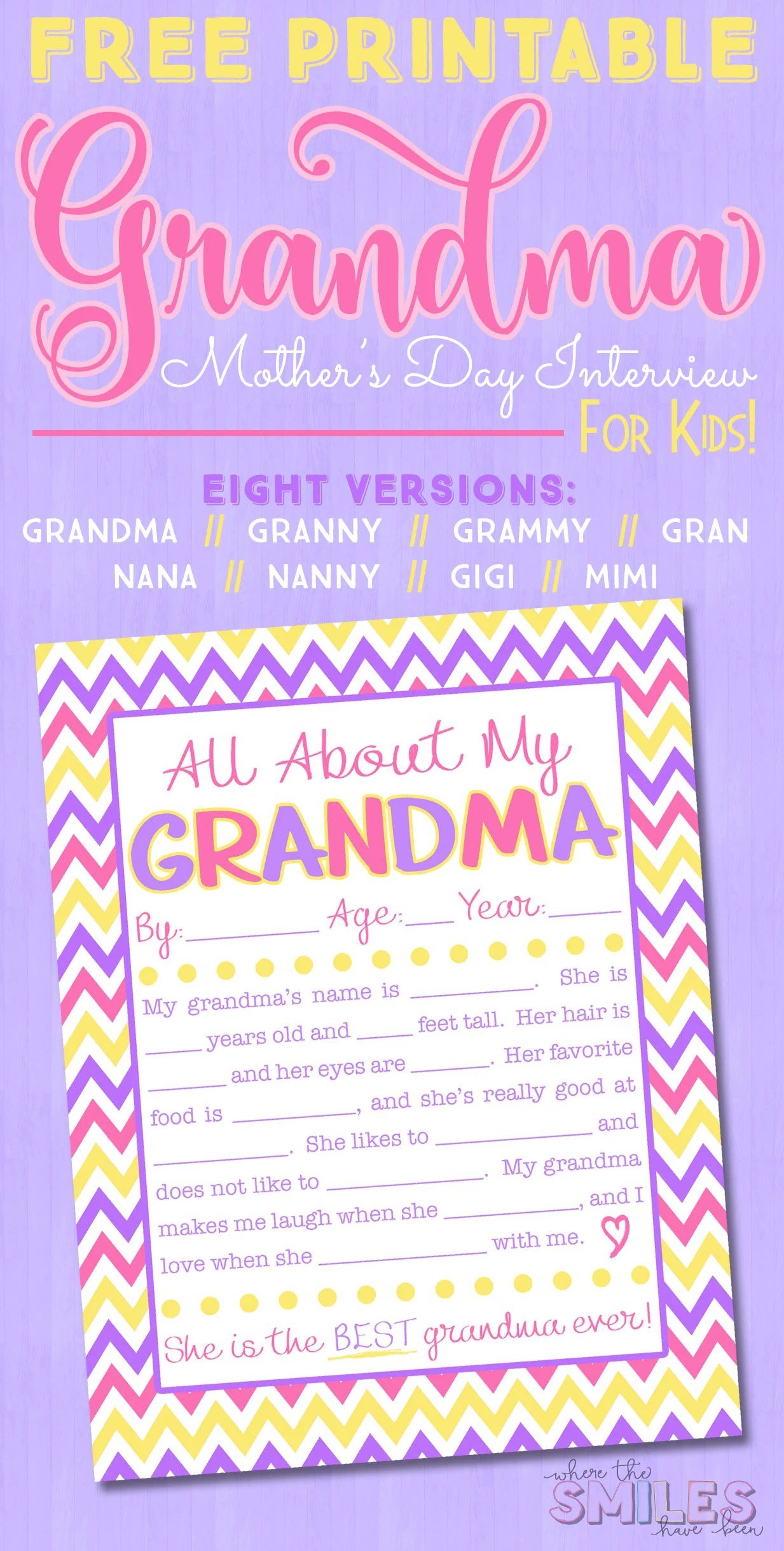 image relating to All About Grandma Printable identified as All Relating to My Grandma Job interview with Free of charge Printable 8