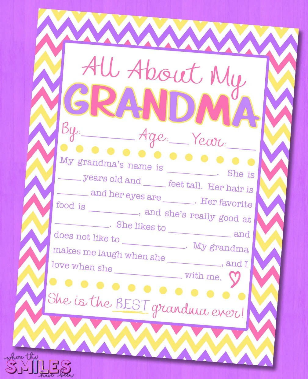 photograph regarding All About My Grandma Printable titled All Regarding My Grandma Job interview with Absolutely free Printable 8