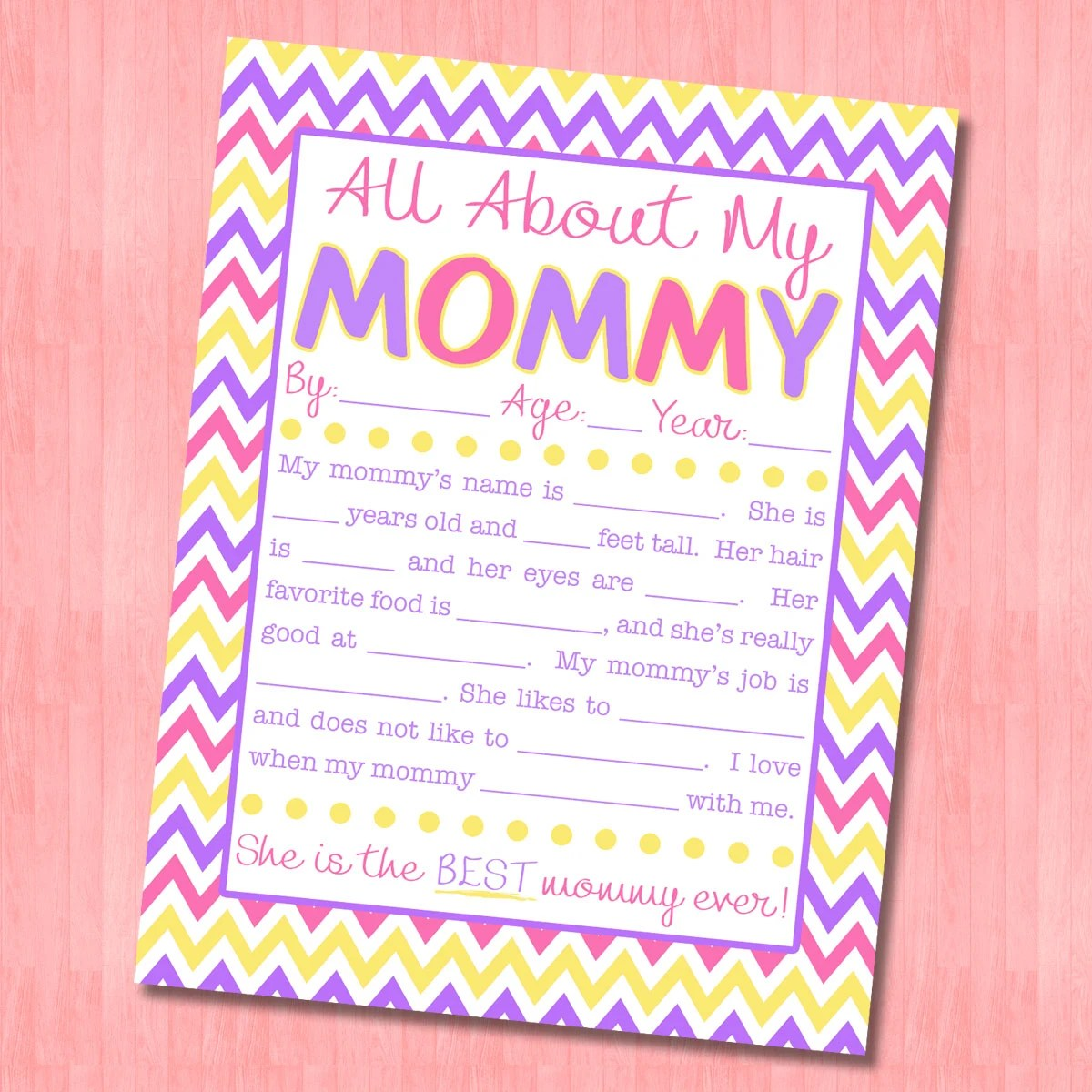All About My Mommy Interview with FREE Printable!