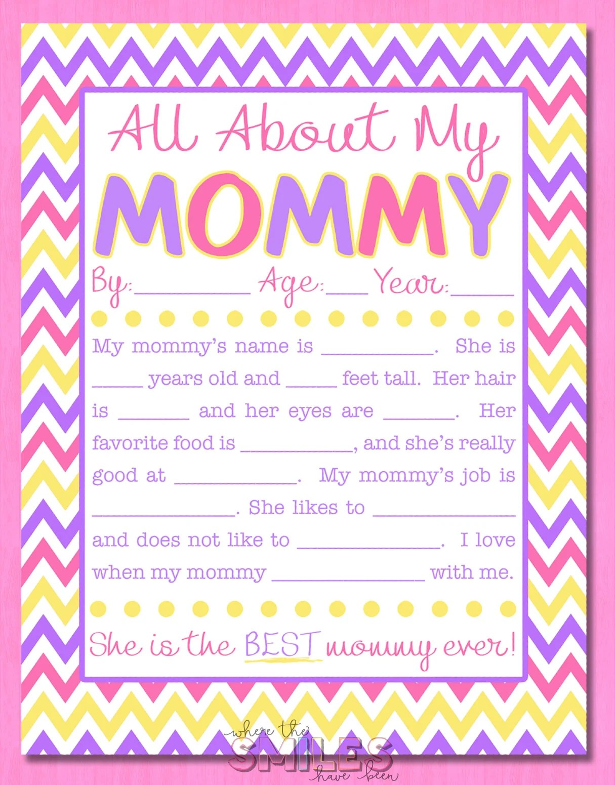 picture about All About My Mom Printable referred to as All Concerning My Mommy Job interview with Absolutely free Printable!