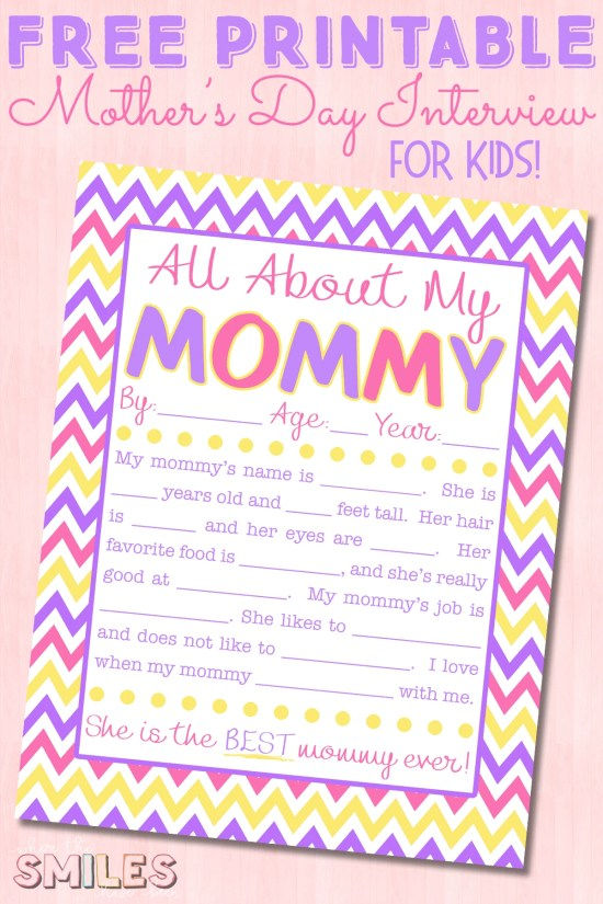 All About My Mommy Interview with FREE Printable! Where The Smiles Have Been #MothersDay #MothersDayCraft #freeprintable