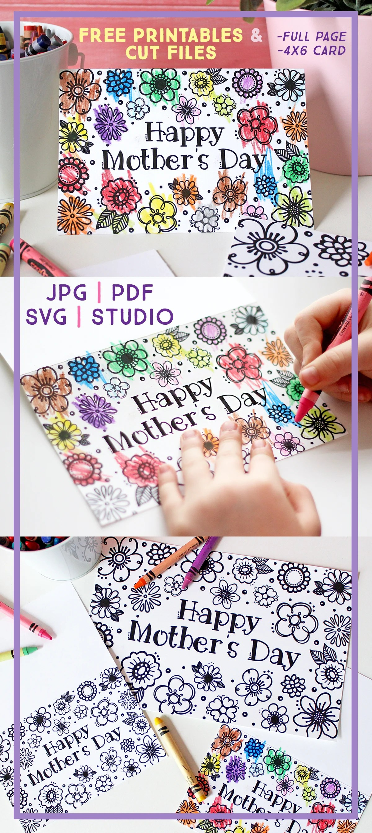 This is a photo of Free Printable Coloring Mothers Day Cards intended for color pdf