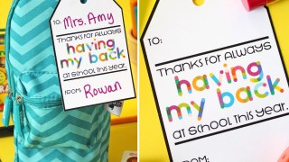 Free Printable Teacher Gift Tag: Thanks for Having My Back...Pack with Supplies!