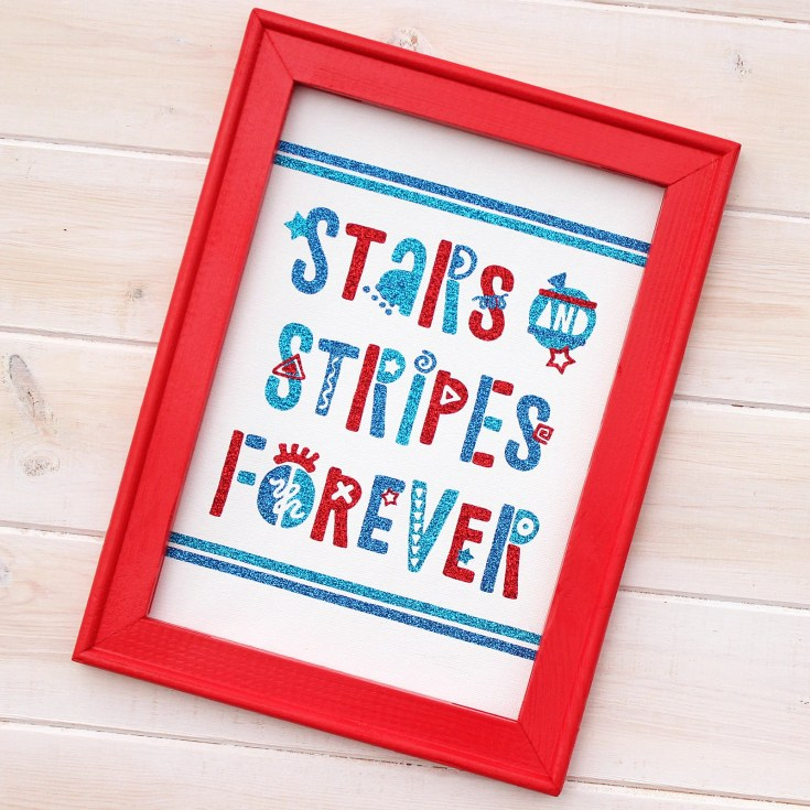 Funky Fourth of July Reverse Canvas Sign + FREE Cut File!