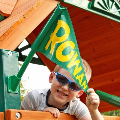 Learn How to DIY Personalized Flags for a Backyard Playset