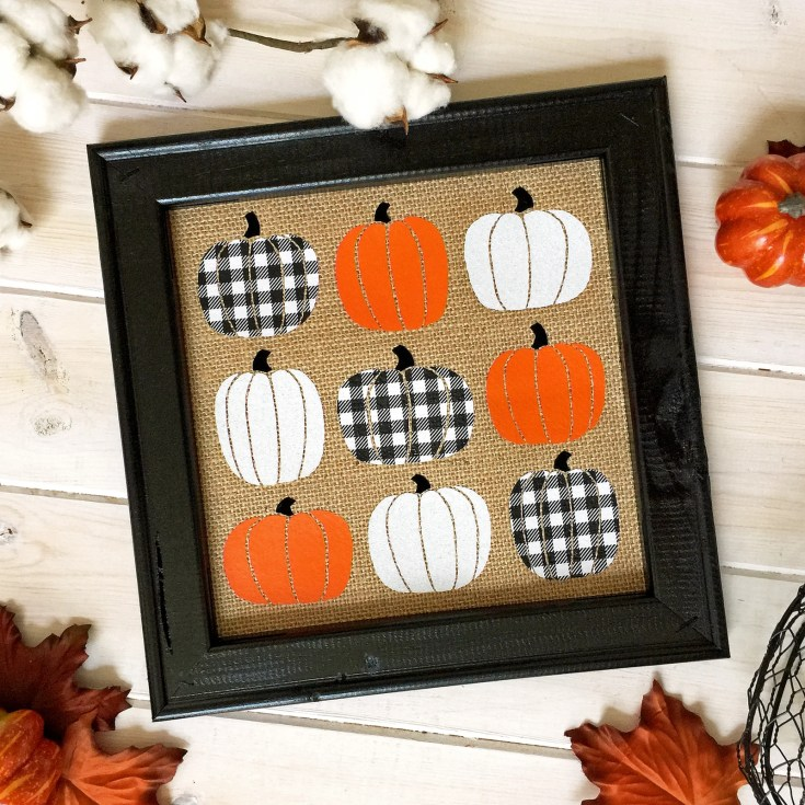 Fall Pumpkin Burlap Reverse Canvas Sign with FOUR Kinds of HTV (Including Buffalo Check!)