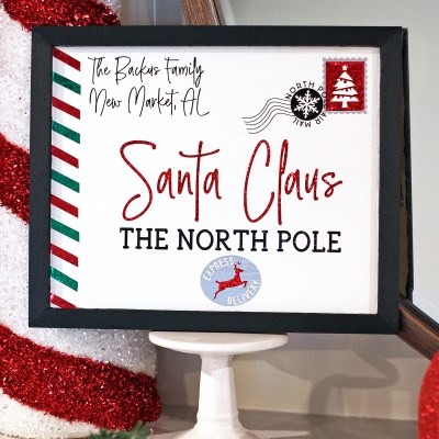 DIY Personalized Letter to Santa Sign + FREE Cut File! | Where The Smiles Have Been #Christmas #LetterToSanta #SantaClaus #HolidayDecor #Personalized #DIY