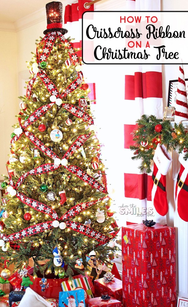 How to Crisscross Ribbon on a Christmas Tree for a Unique Look! | Where The Smiles Have Been #Christmas #ChristmasTree #ChristmasTreeDecorating #ribbon #DIY #HolidayDecor