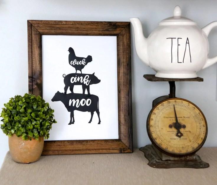 Farmhouse Animals Reverse Canvas Sign