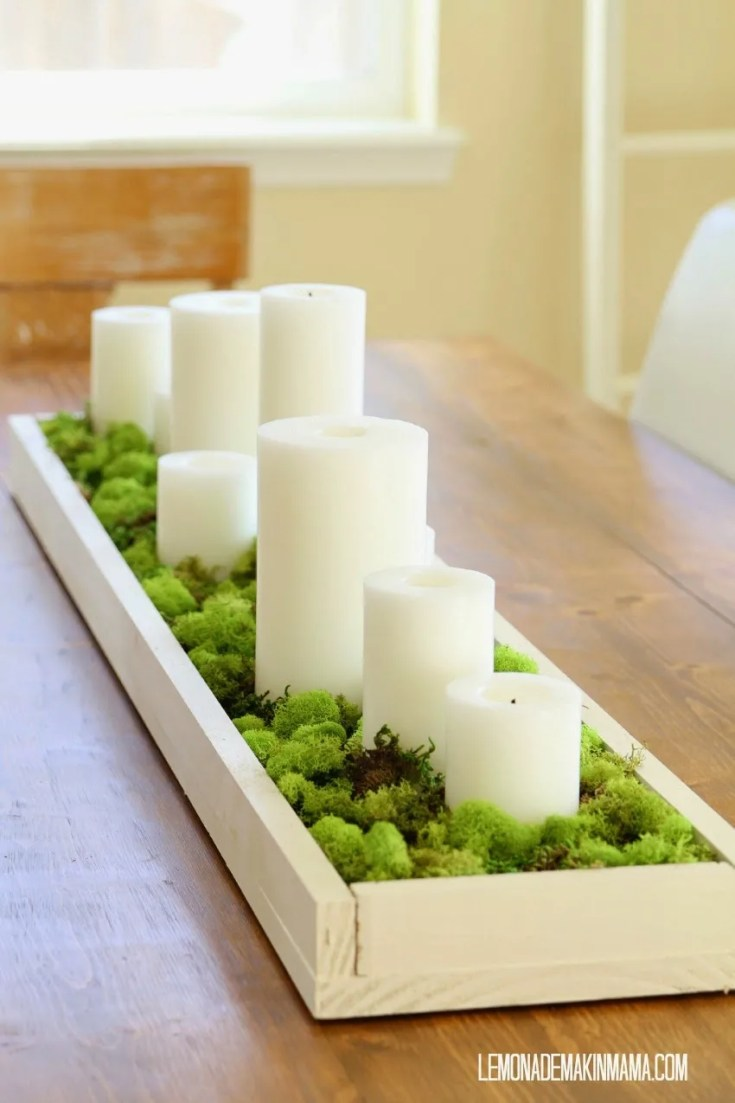 Simple Spring Moss & Candle Centerpiece