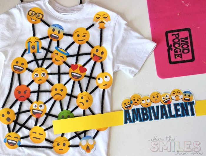 School Vocabulary Parade Costume Idea: Ambivalent | Where The Smiles Have Been #VocabularyParade #SchoolProject #SchoolVocabularyParade #VocabularyParadeCostume #Emoji #PrintableHTV #Silhouette #Cricut