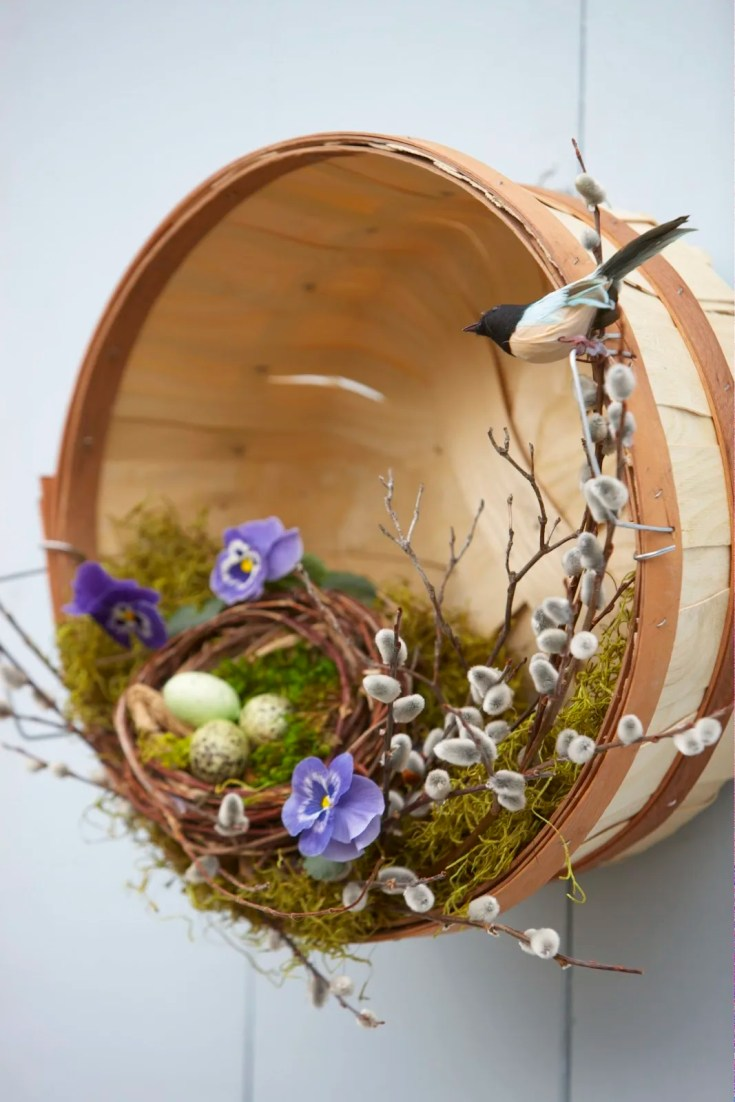 Spring Bird's Nest Basket Door Hanger