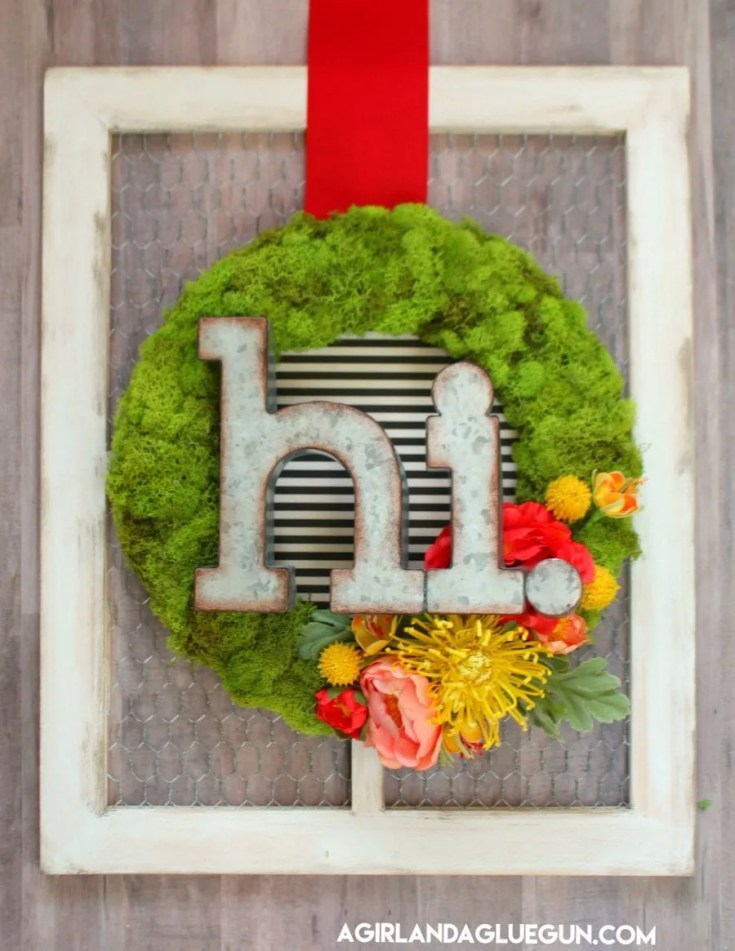 Spunky Spring Moss Wreath with Greeting