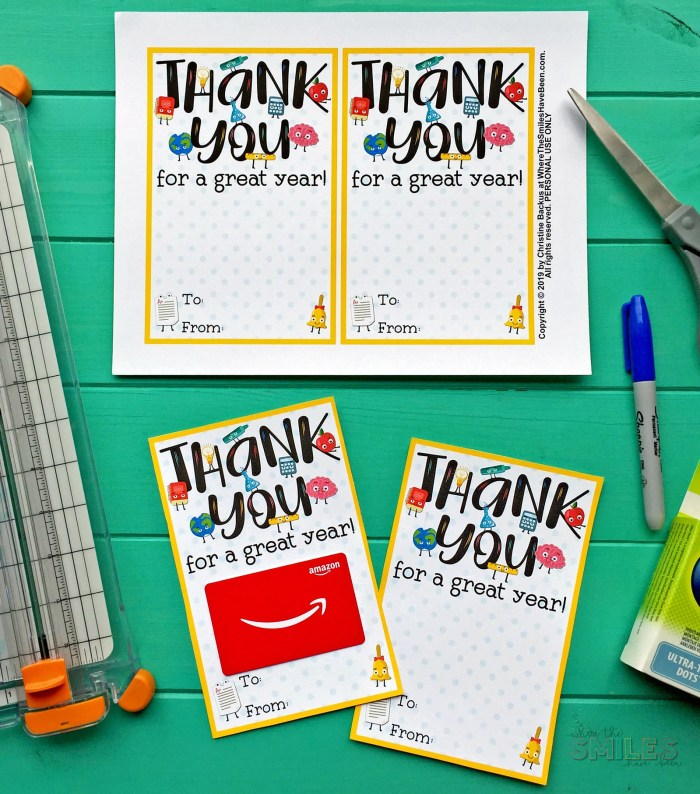 FREE Teacher Appreciation Thank You Printable - Two Versions! Great for Teacher Appreciation Week & End-of-School-Year Gifts! | Where The Smiles Have Been #teachergift #teacherappreciation #school #endofschool #lastdayofschool #thankyounote #teacherthankyou #freeprintable #giftcardholder #freeteacher #PTA #PTO #schoolsupplies