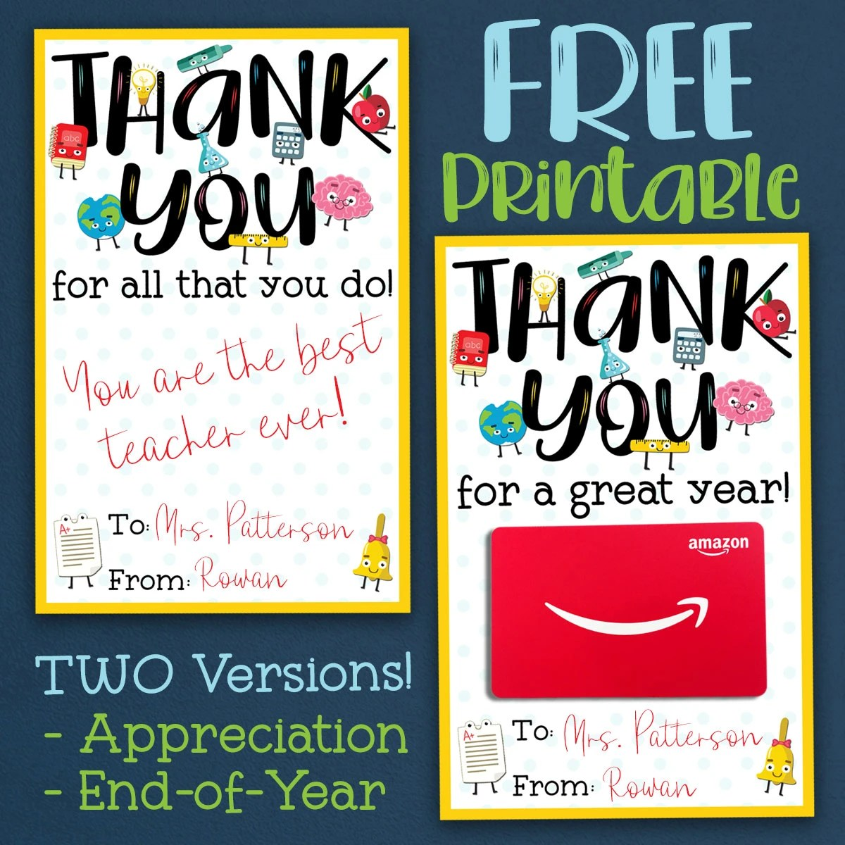 It's just a picture of Thank You Teacher Printable in a note from your teacher