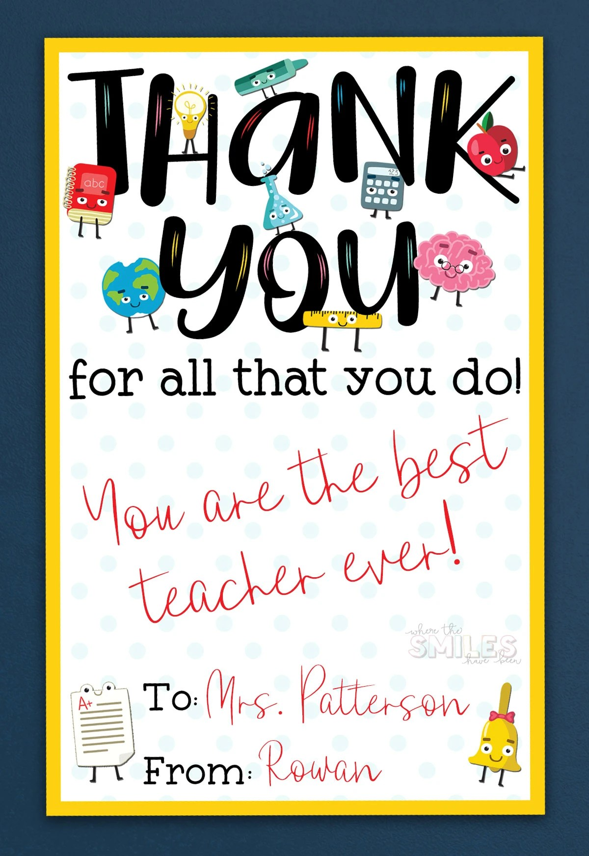 picture about Printable Teacher Appreciation Cards called Free of charge Instructor Appreciation Thank Yourself Printable - 2 Models!
